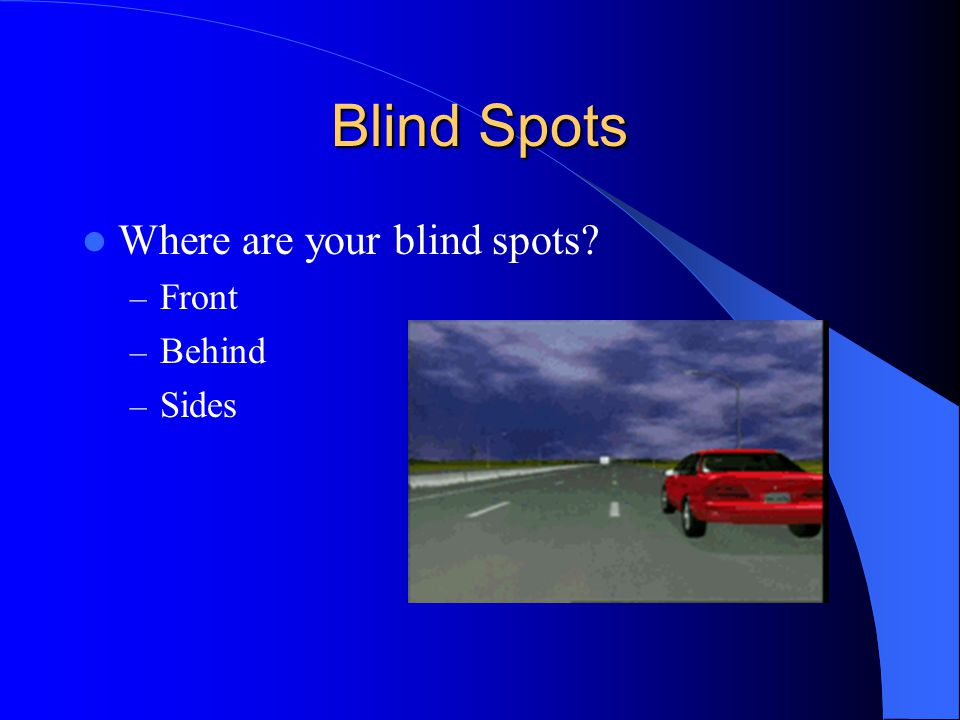 Blind Spots Where are your blind spots Front Behind Sides