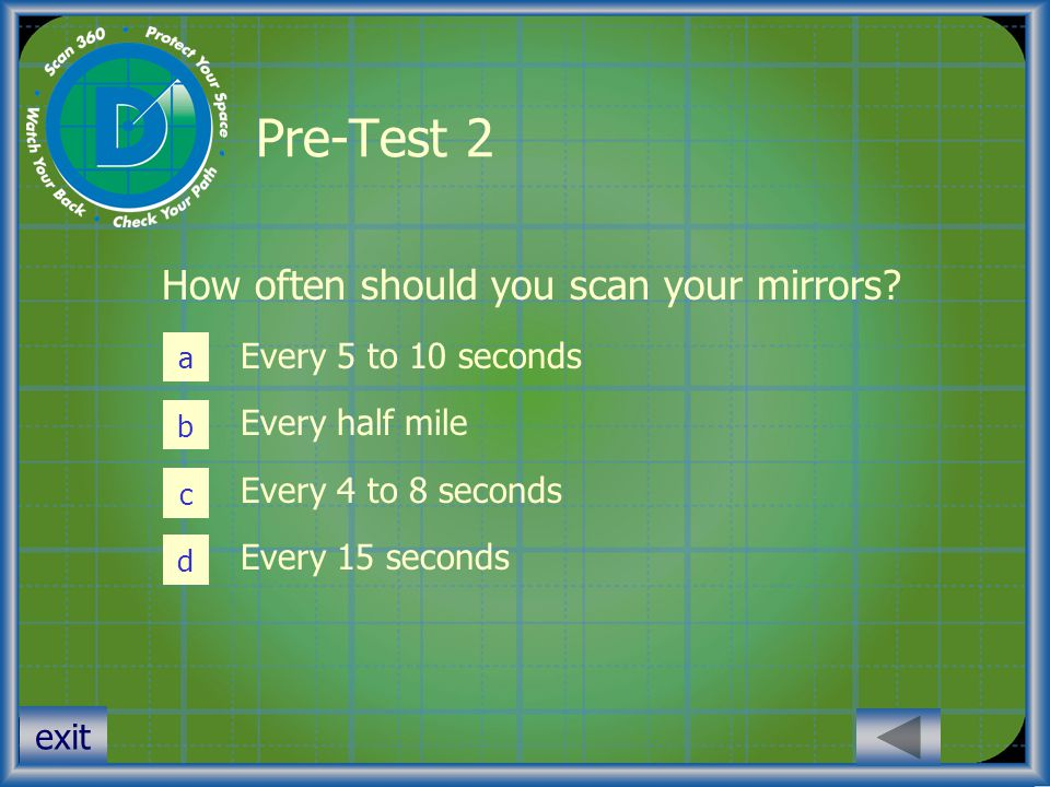 Pre-Test 2 How often should you scan your mirrors