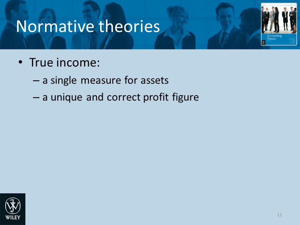 Normative theories True income: a single measure for assets