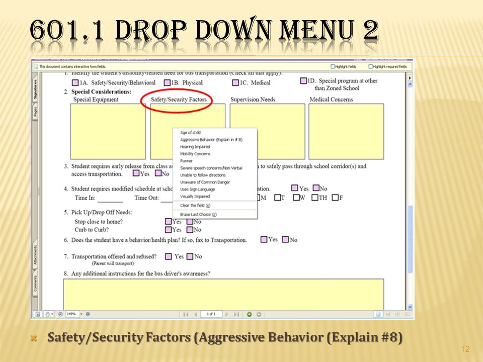 601.1 Drop Down Menu 2 Safety/Security Factors (Aggressive Behavior (Explain #8)