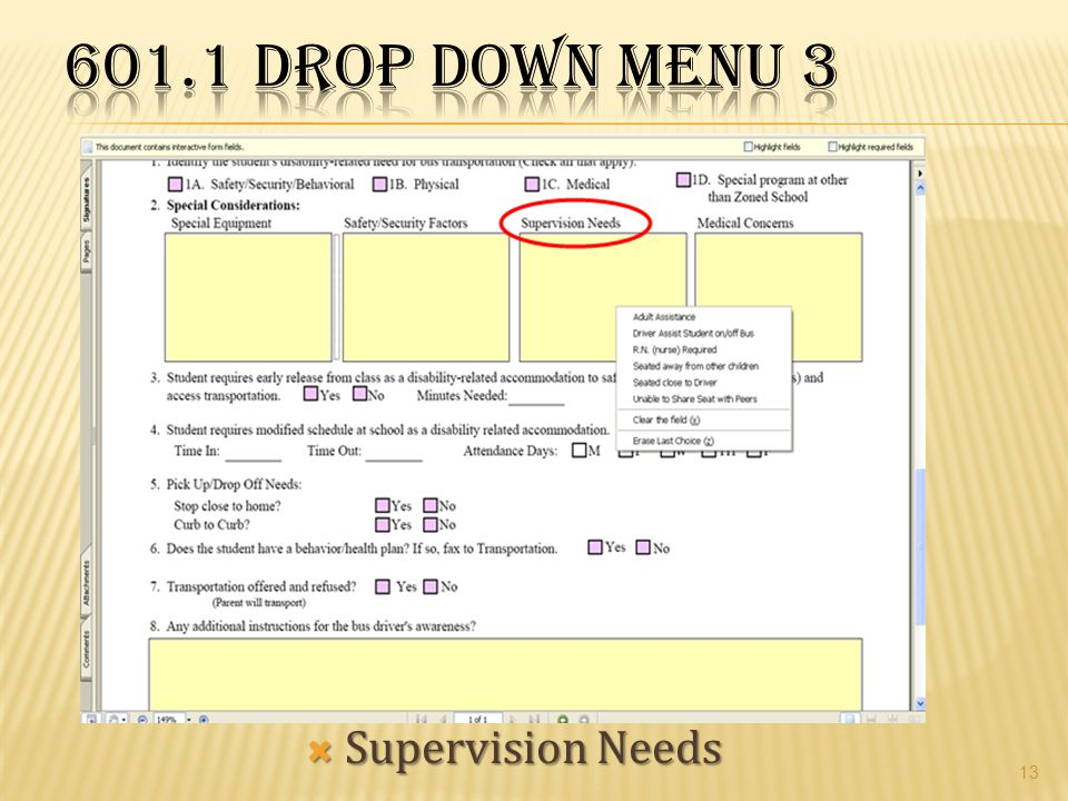 601.1 Drop Down Menu 3 Supervision Needs