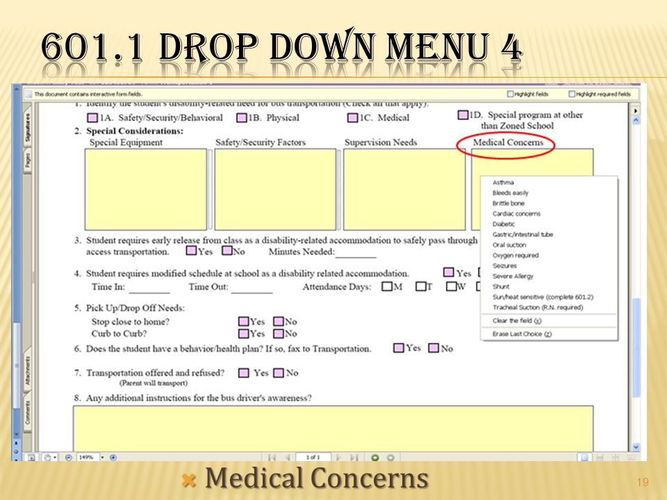 601.1 Drop Down Menu 4 Medical Concerns