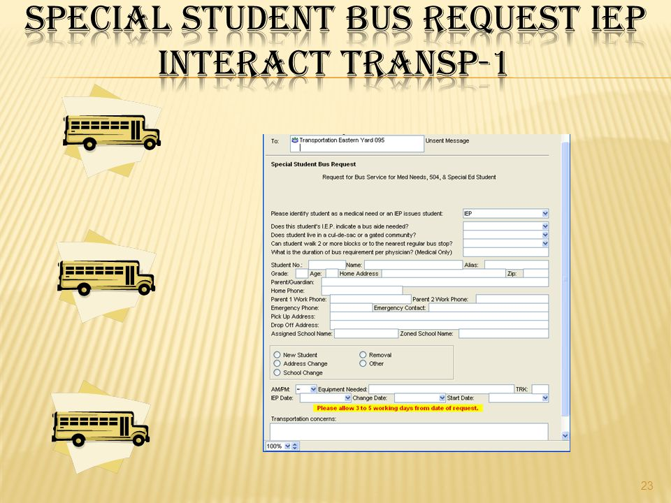 Special Student Bus Request IEP Interact TRANSP-1