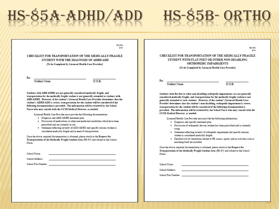 HS-85a-Adhd/add HS-85b- ortho