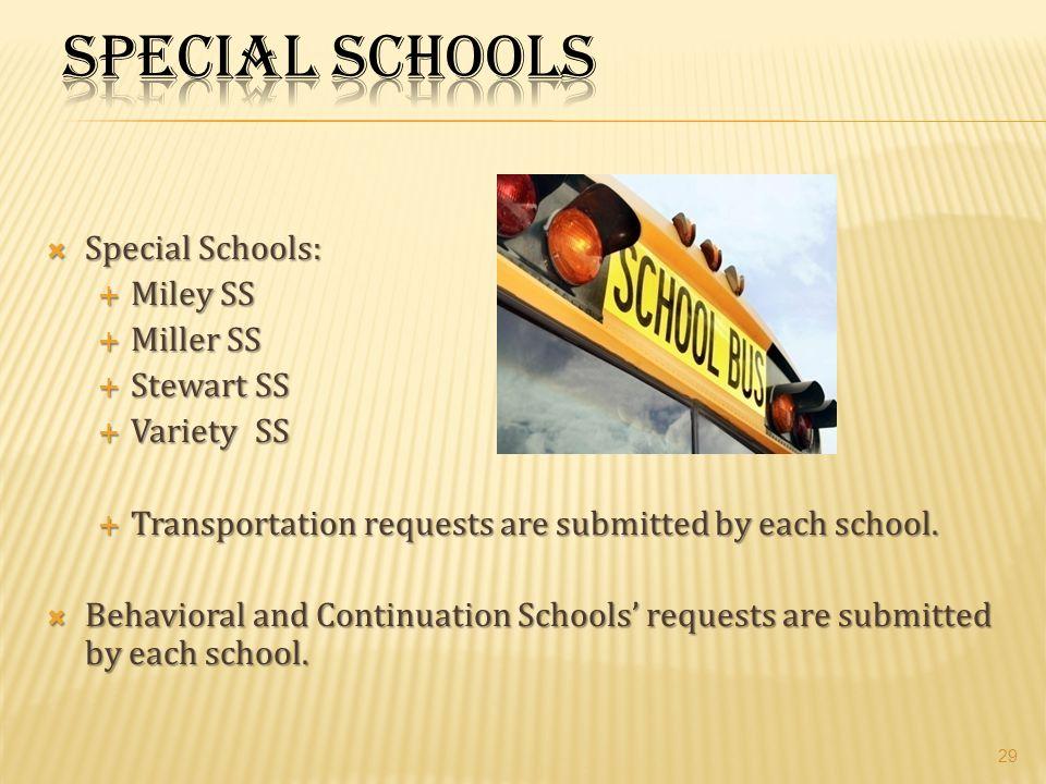 Special Schools Special Schools: Miley SS Miller SS Stewart SS