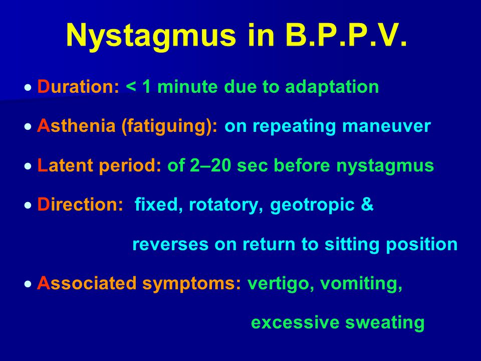Nystagmus in B.P.P.V.  Duration: < 1 minute due to adaptation
