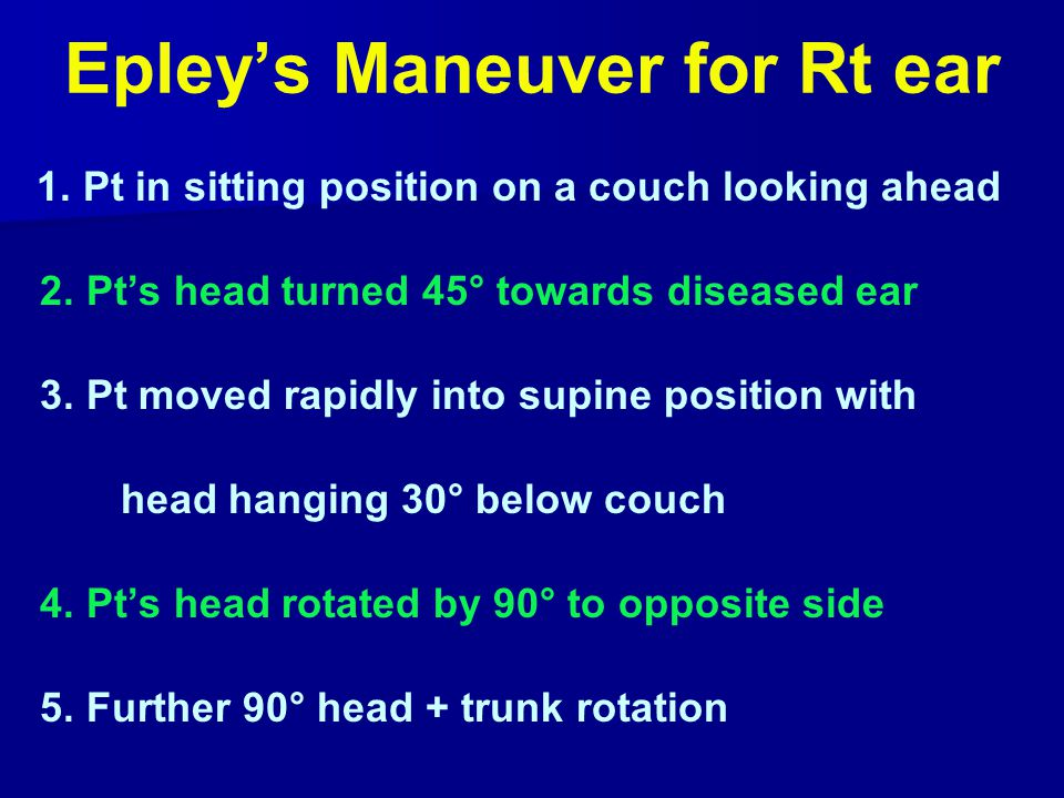 Epley's Maneuver for Rt ear