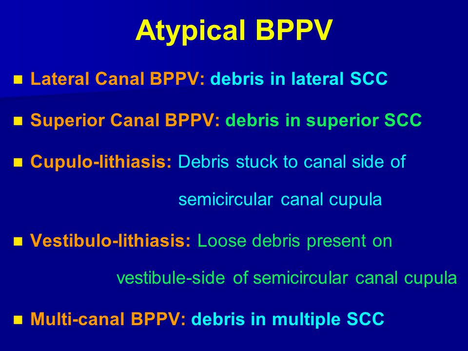 Atypical BPPV Lateral Canal BPPV: debris in lateral SCC