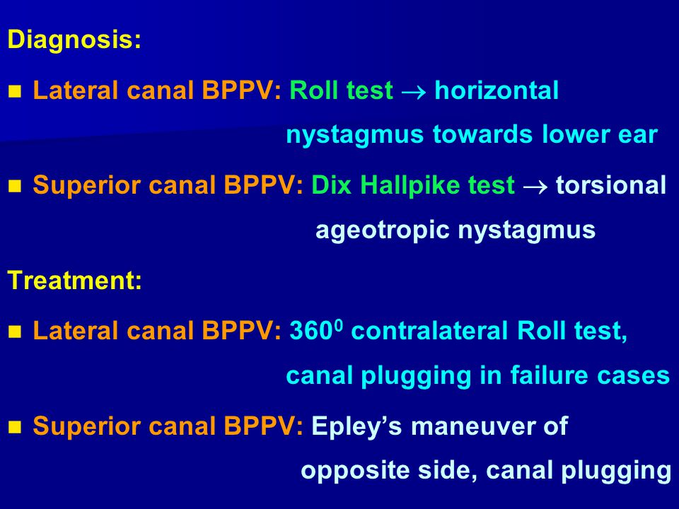Diagnosis: Lateral canal BPPV: Roll test  horizontal nystagmus towards lower ear.