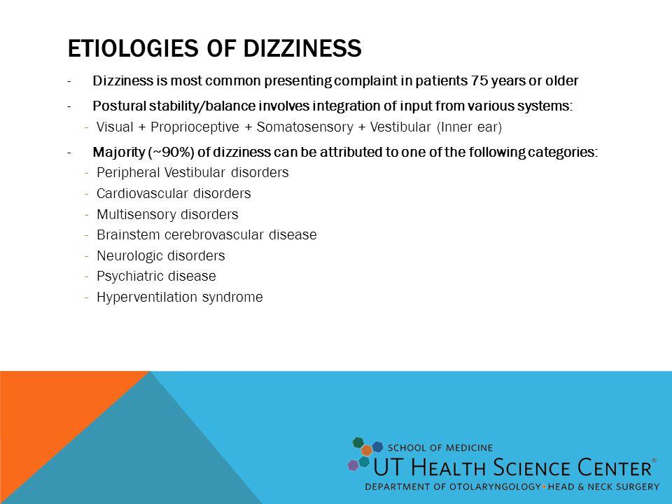 Etiologies of dizziness