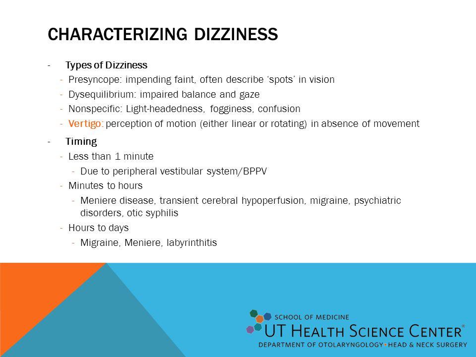 Characterizing dizziness