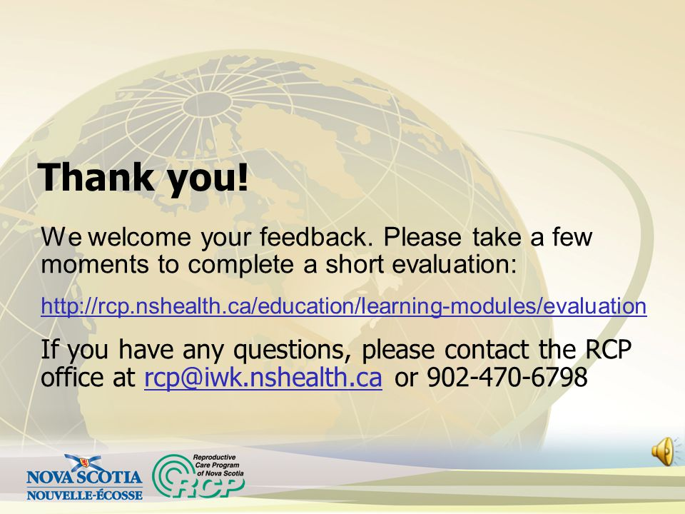 Thank you! We welcome your feedback. Please take a few moments to complete a short evaluation: