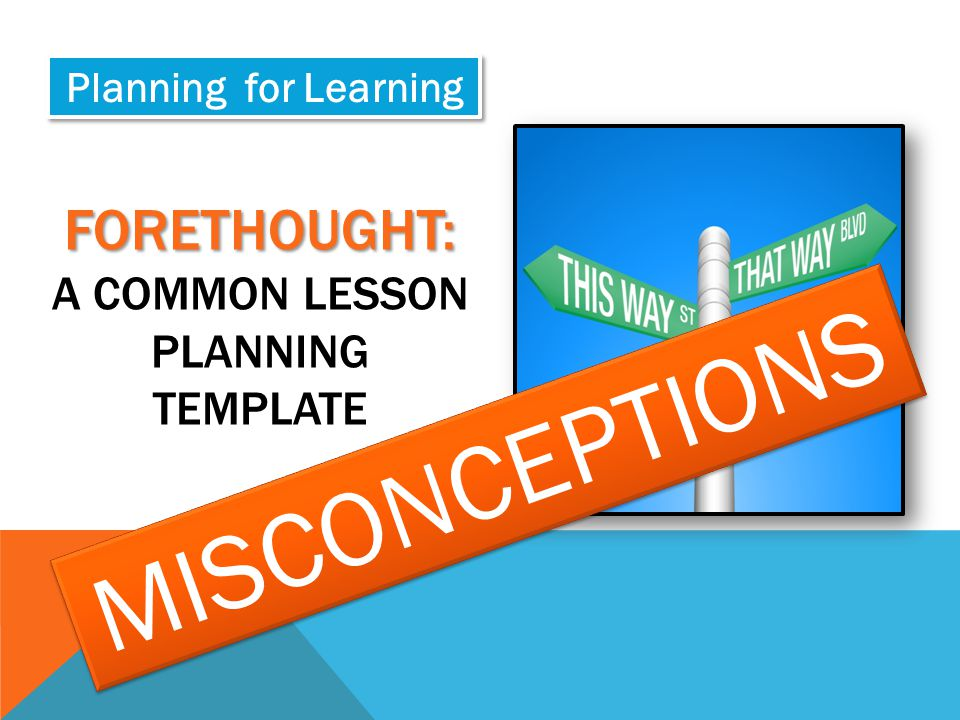 Forethought: a common lesson planning template