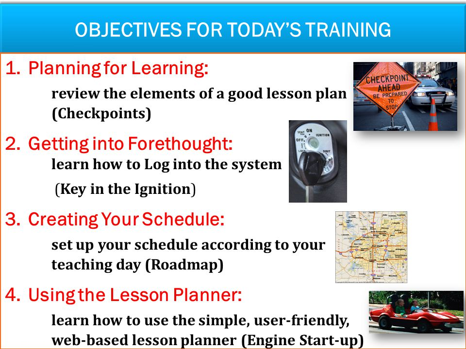 Objectives for today's training