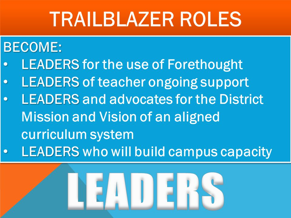LEADERS Trailblazer Roles BECOME: LEADERS for the use of Forethought