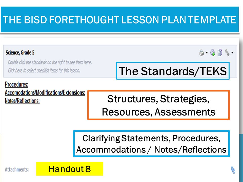 the bisd forethought Lesson Plan Template
