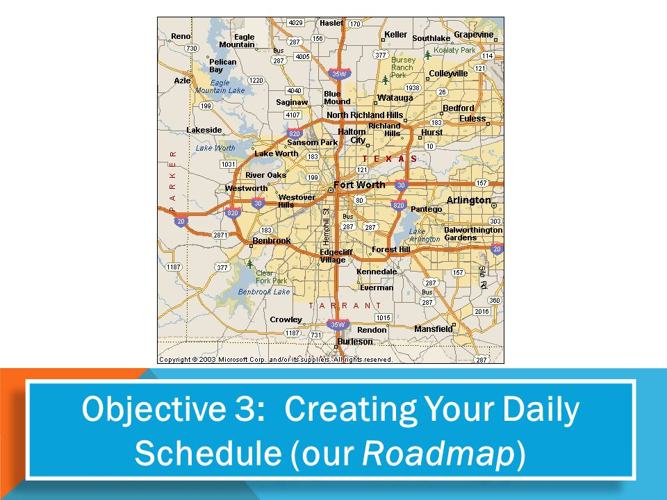 Objective 3: Creating Your Daily Schedule (our Roadmap)