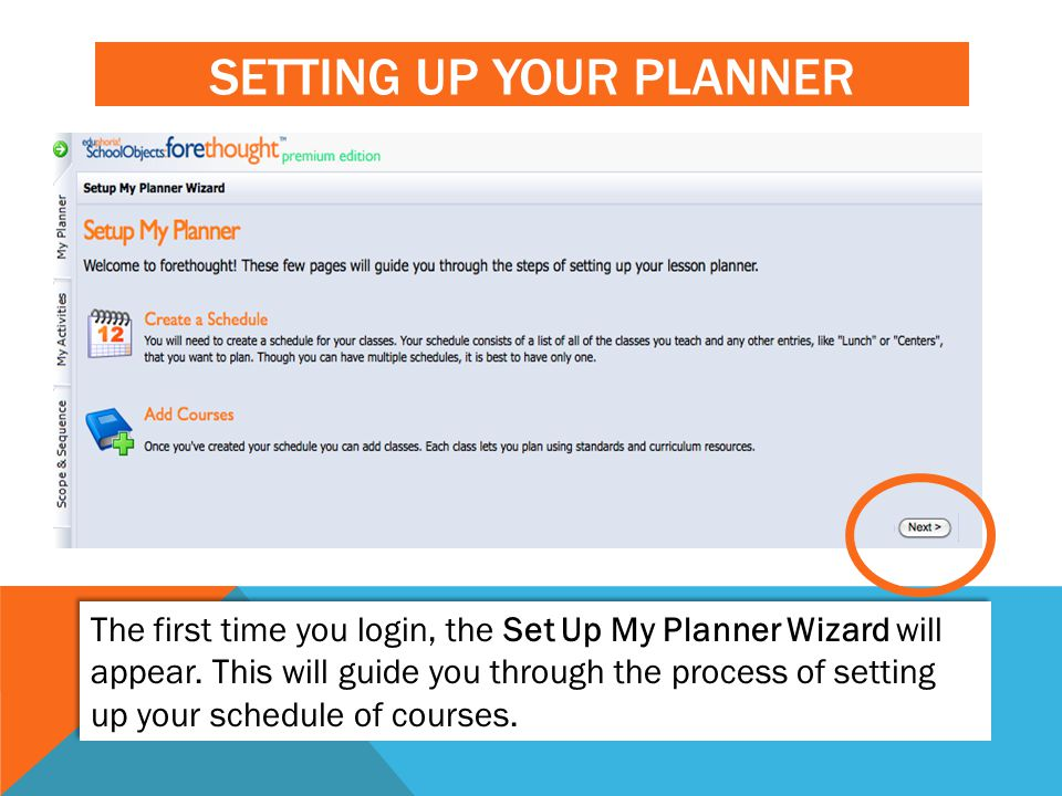 Setting Up Your planner
