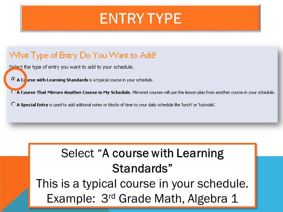 Select A course with Learning Standards