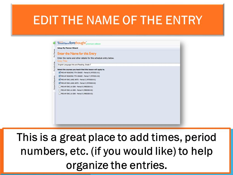 Edit the Name of the Entry
