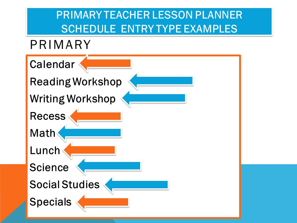 Primary Teacher Lesson Planner Schedule Entry Type Examples