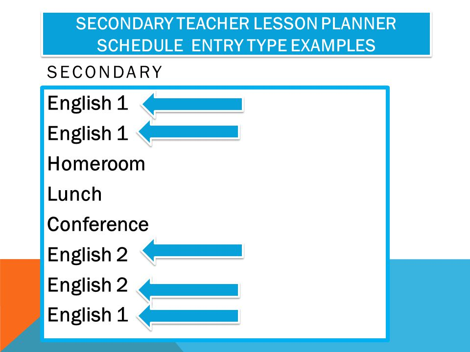 Secondary Teacher Lesson Planner Schedule Entry Type Examples