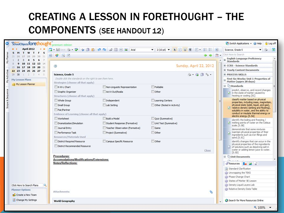 Creating a lesson in Forethought – The Components (See handout 12)