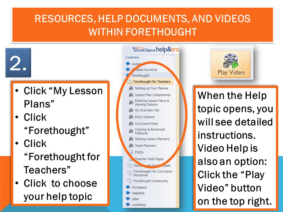 Resources, help documents, and videos Within Forethought