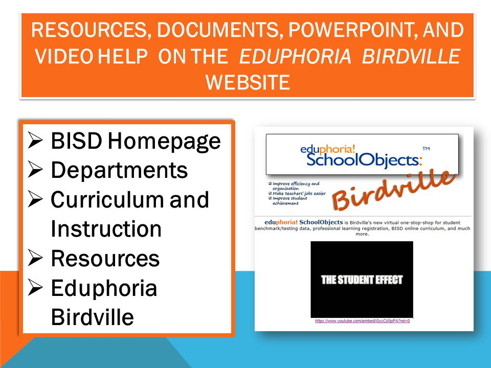 Curriculum and Instruction Resources Eduphoria Birdville