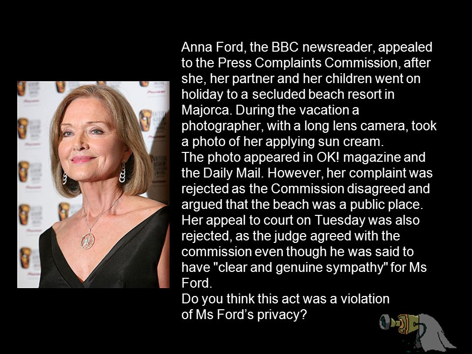 Anna Ford, the BBC newsreader, appealed