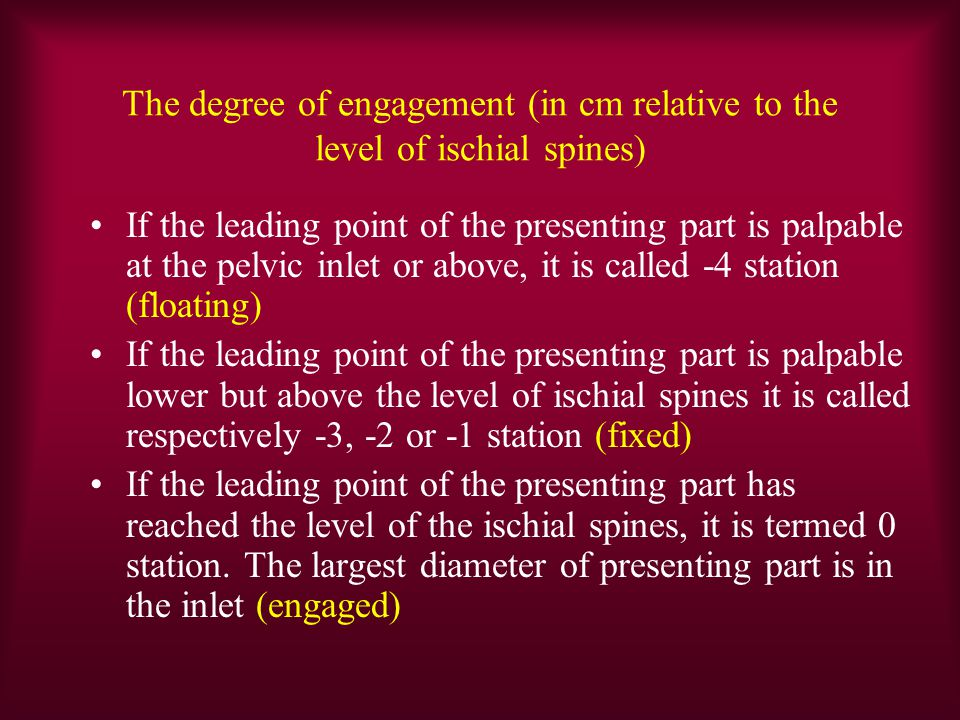 The degree of engagement (in cm relative to the level of ischial spines)