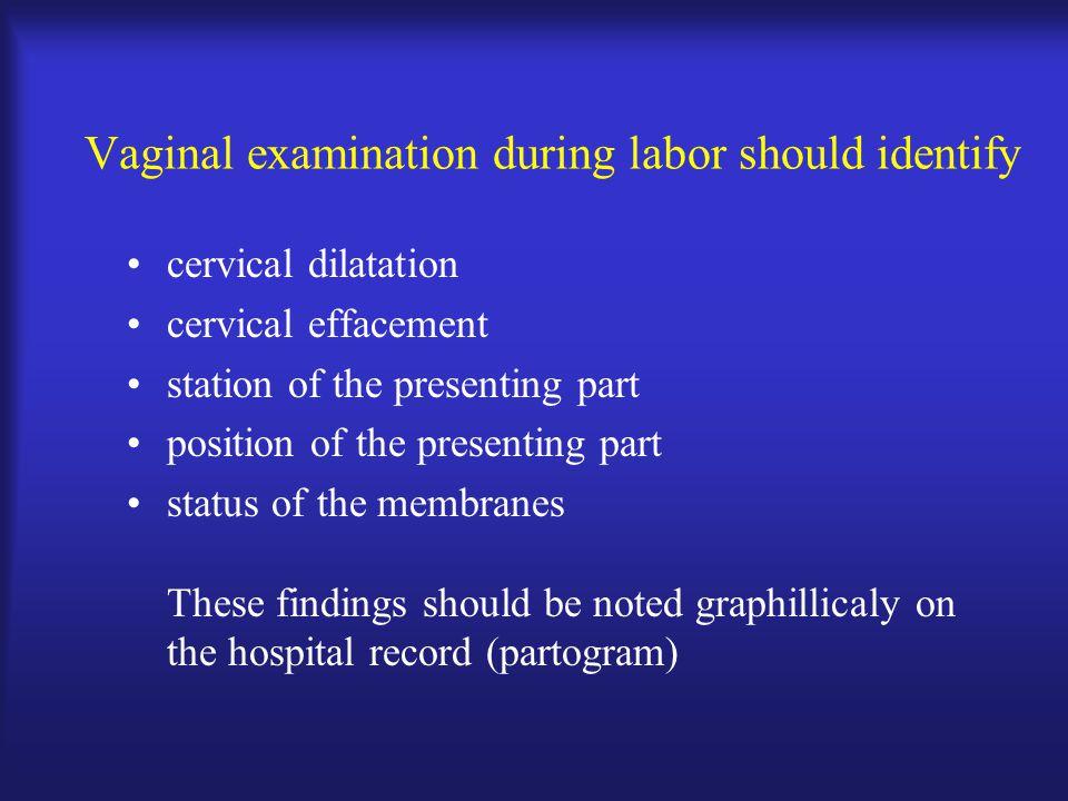Vaginal examination during labor should identify