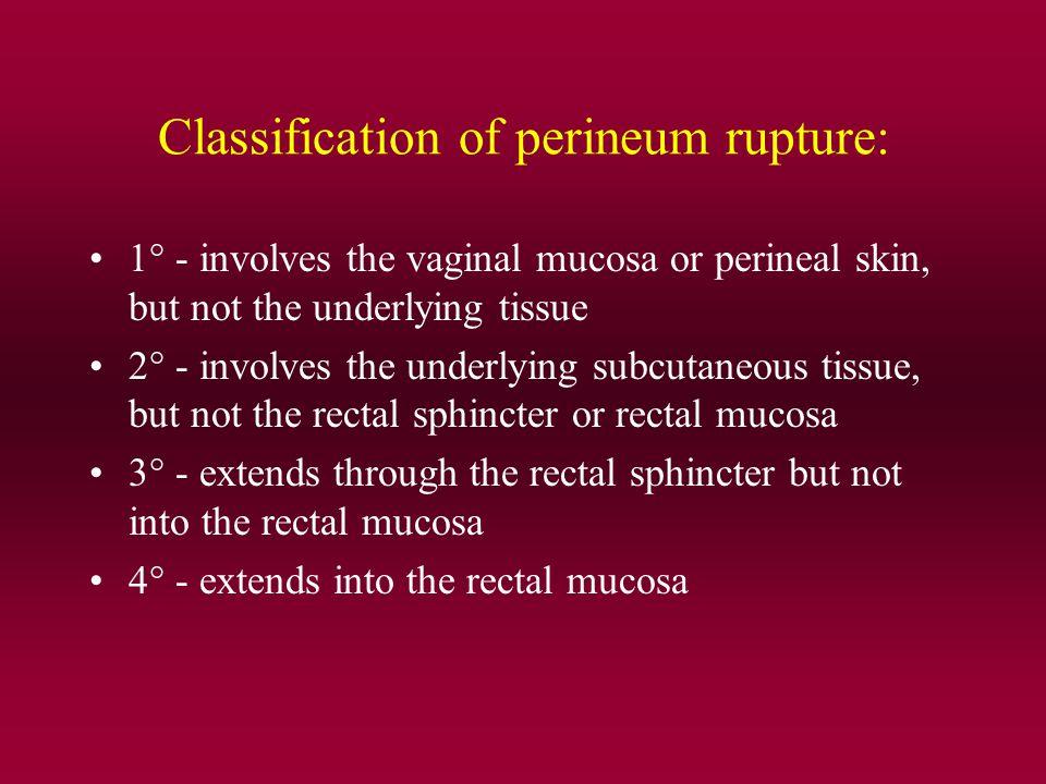 Classification of perineum rupture: