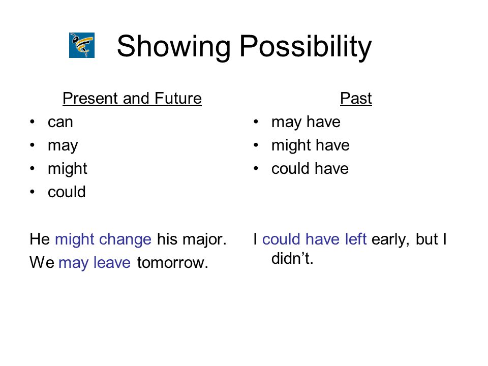 Showing Possibility Present and Future can may might could