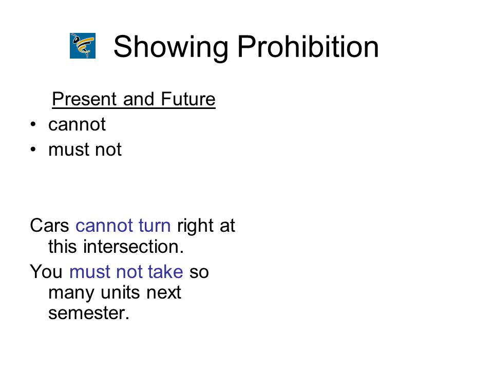 Showing Prohibition Present and Future cannot must not