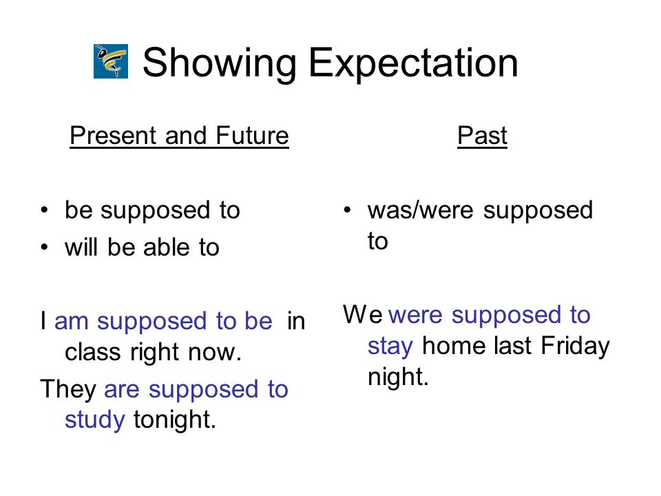 Showing Expectation Present and Future be supposed to will be able to