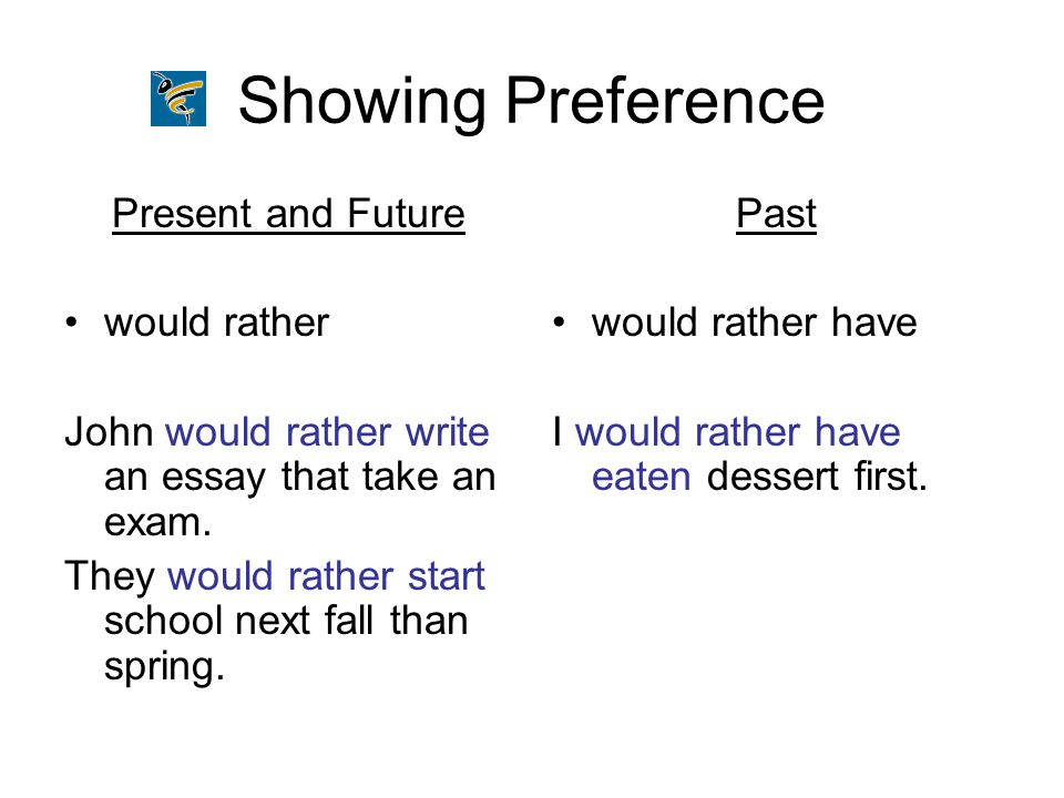 Showing Preference Present and Future would rather