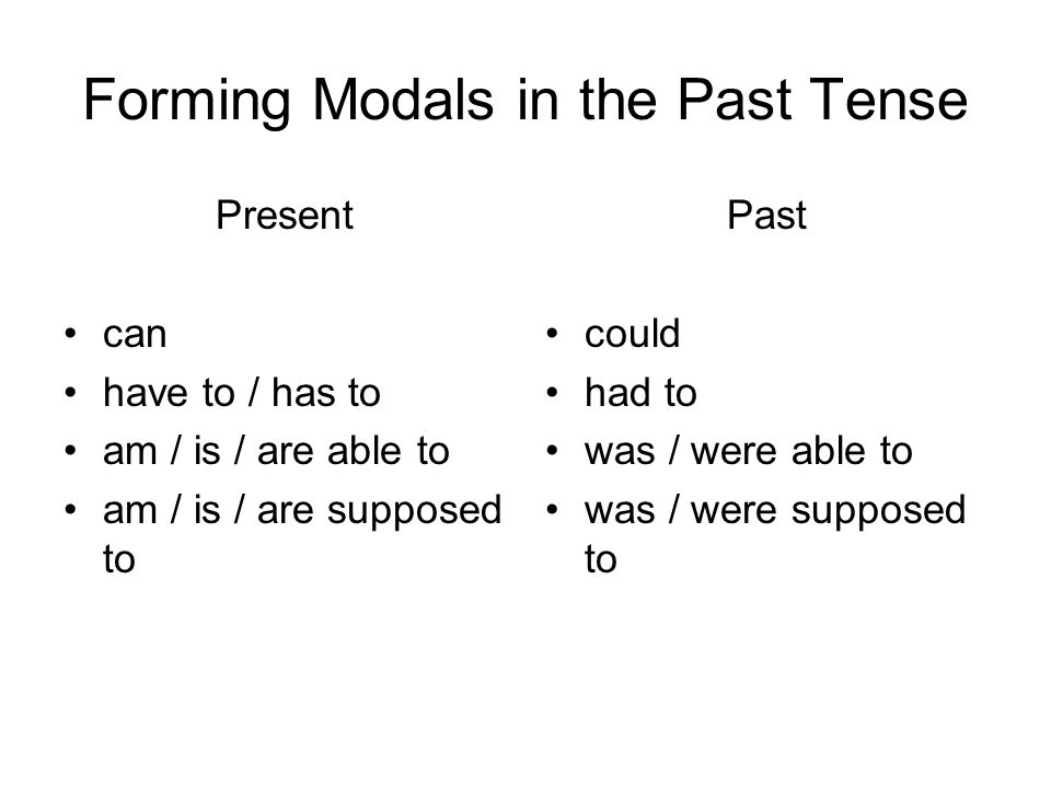 Forming Modals in the Past Tense