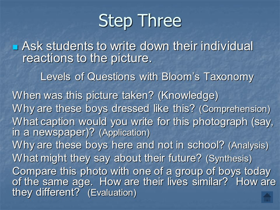 Levels of Questions with Bloom's Taxonomy