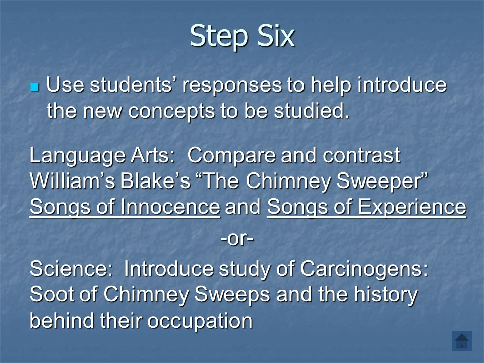 Step Six Use students' responses to help introduce the new concepts to be studied.