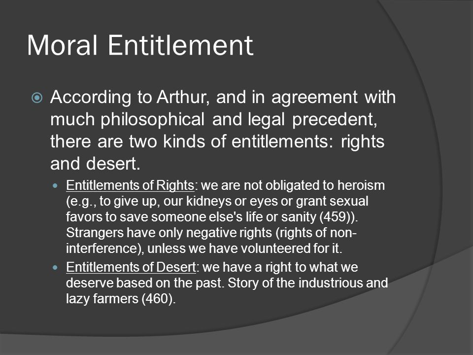 Moral Entitlement