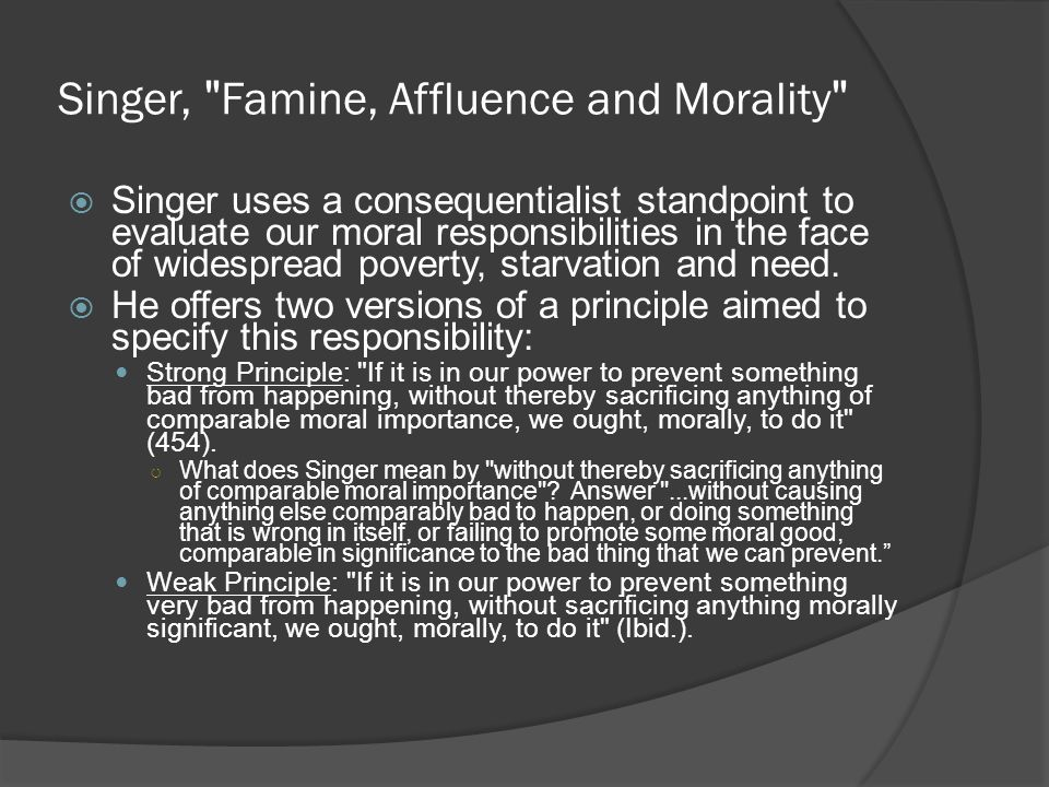 Singer, Famine, Affluence and Morality