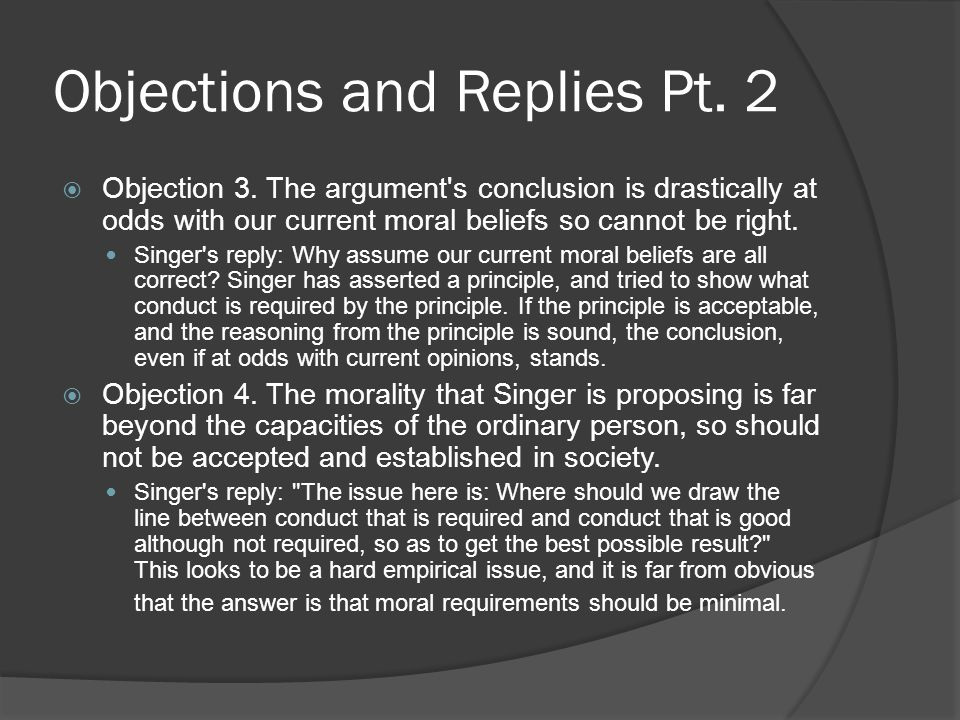 Objections and Replies Pt. 2