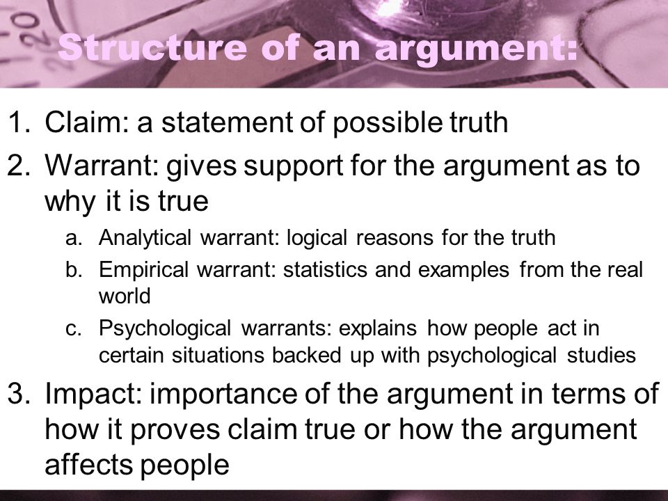Structure of an argument: