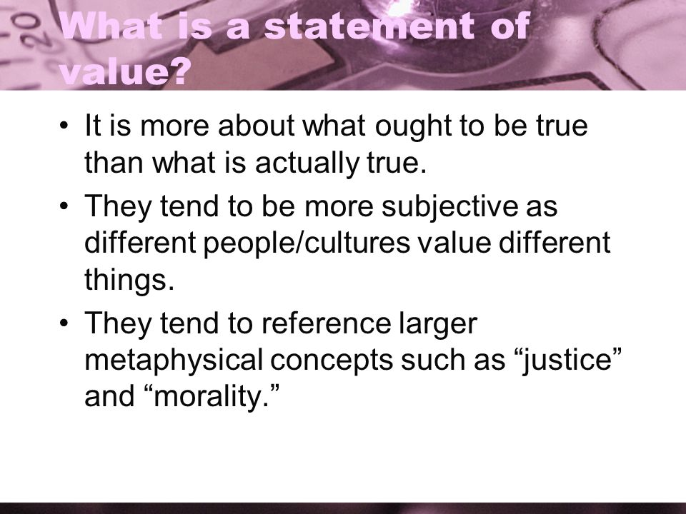What is a statement of value