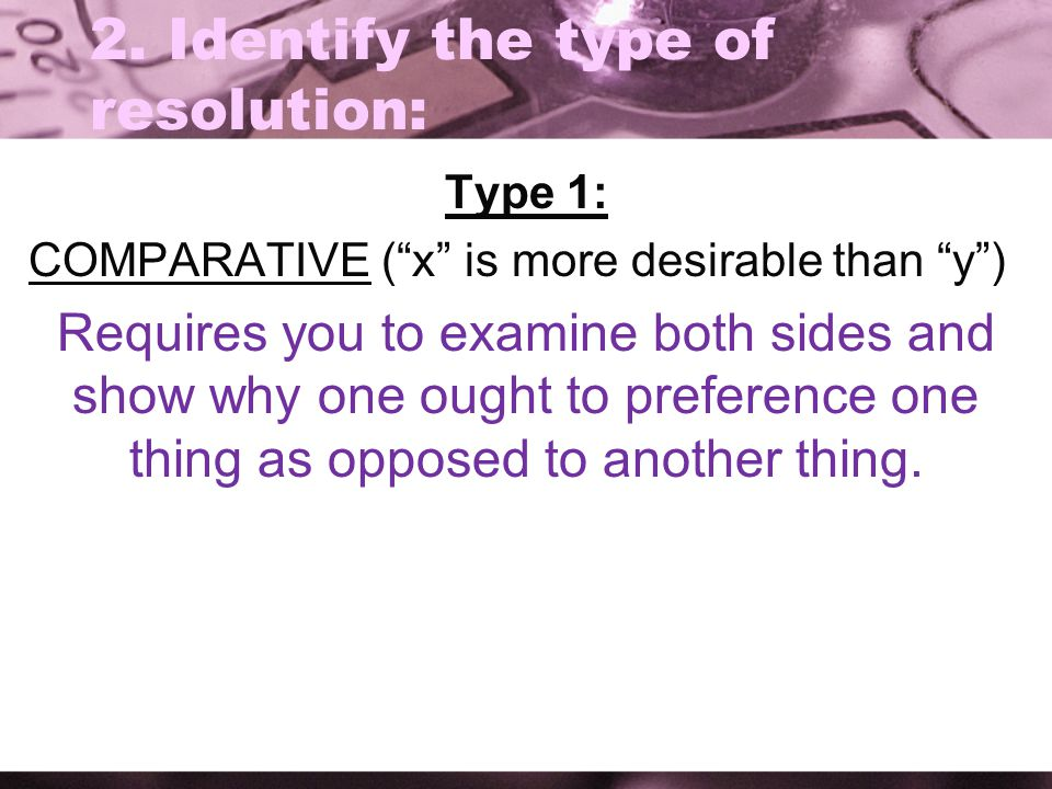 2. Identify the type of resolution: