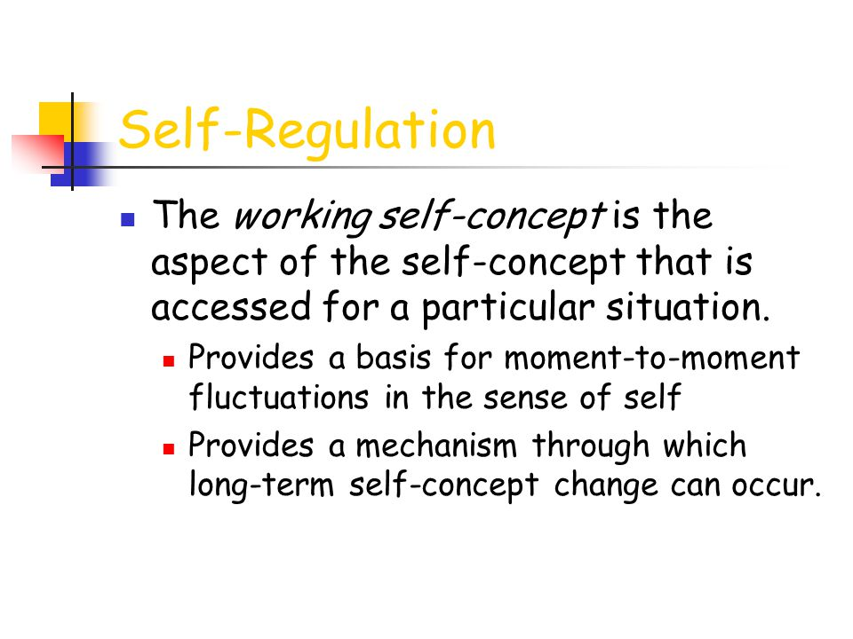 Self-Regulation The working self-concept is the aspect of the self-concept that is accessed for a particular situation.
