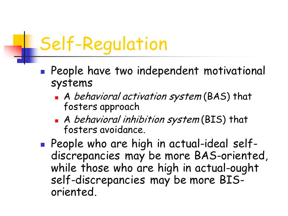 Self-Regulation People have two independent motivational systems