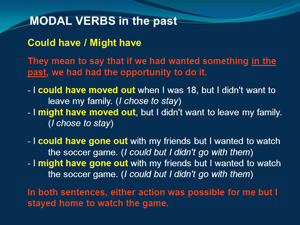 MODAL VERBS in the past Could have / Might have