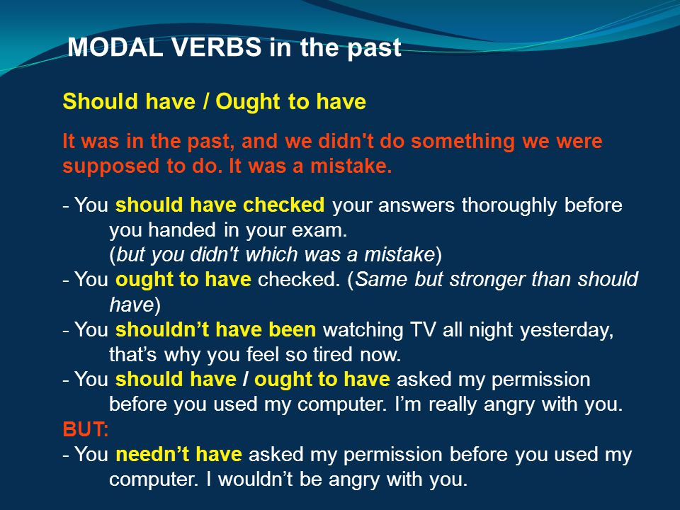 MODAL VERBS in the past Should have / Ought to have.